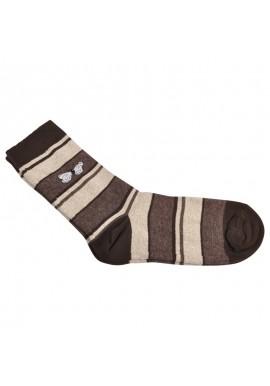 Capital strømpe i brun og sandfarvet striber